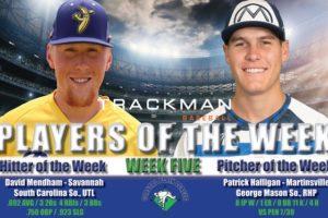 Mendham and Halligan Named Week Five Coastal Plain League Players of the Week